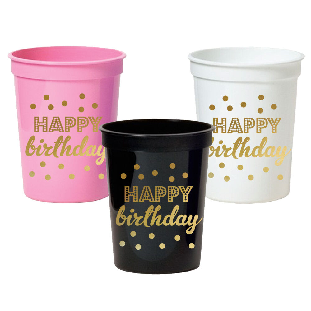 100pk Metallic or Happy Birthday Party Cups Birthday Party Decorations
