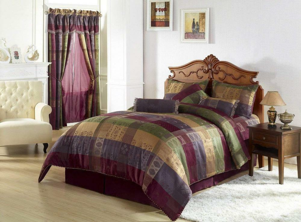 Chezmoi Collection Gitano Jacquard Patchwork 7-Piece Bedding Set, King,...