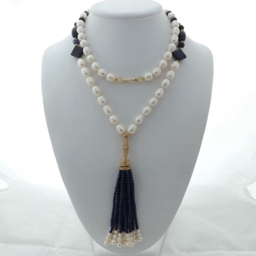 "37/"" riz blanc perle lapis Tassel Collier"