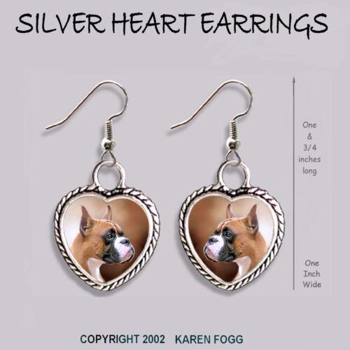 BOXER DOG Cropped Ears HEART EARRINGS Ornate Tibetan Silver