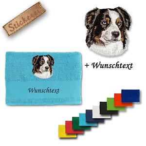 Aus Dem Ausland Importiert Australian Shepherd M1 Handtuch Duschtuch Stickerei Bestickt Shampoos & Waschartikel Hunde Wunschtext äSthetisches Aussehen