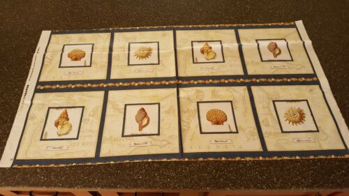 Sea Treasures Panel 23x42 Charlene Audrey Quilting Treasures Shells Blocks