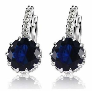 Image Is Loading White Gold Plated Navy Stone Drop Earrings Wedding