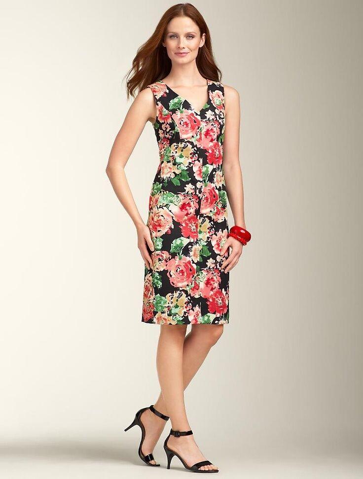 NEW  TALBOTS schwarz,Rosa Brushstroke Rosa,Floral Canvas Sheath Dress Sz 4