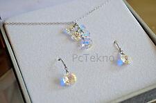 Sterling Silver Swarovski Elements AB Cluster Crystal Necklace & Earring Set NIB
