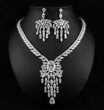 Queen Clear CZ Cubic Zirconia Crystal Necklace Earrings Set Wedding Party CZ900