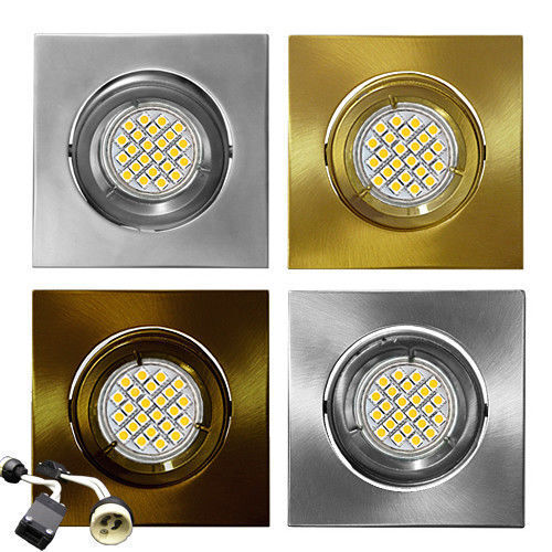 Faretto da incasso KW50 Acciaio inox quadrato inclinabile Alogeno LED 6W 4W 2W