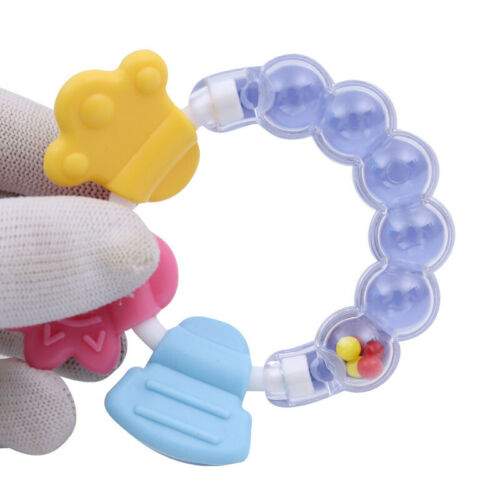 Baby Silicone Teether Educational Mobiles Toys Teeth Biting Rattle Handbell Gift