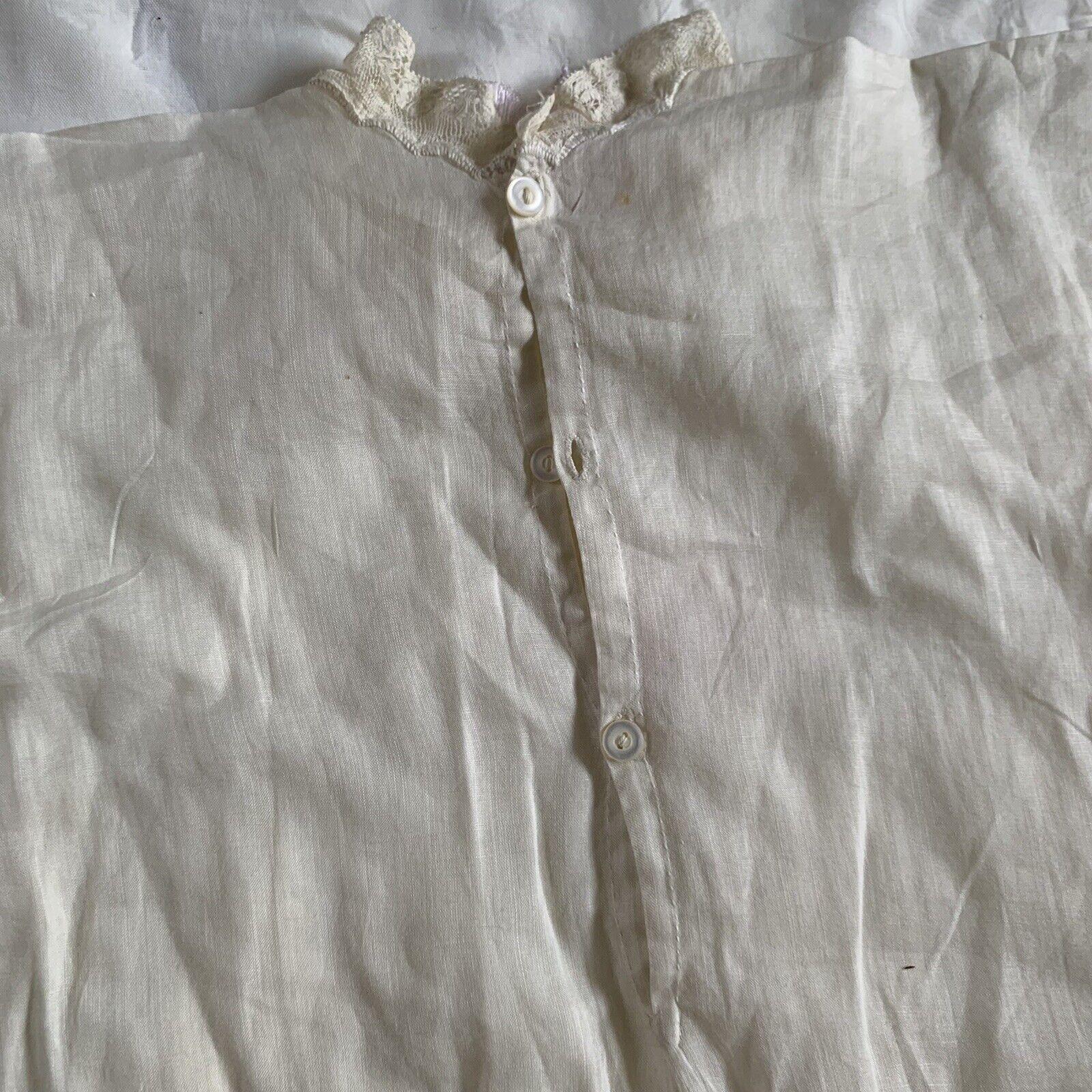 Antique Edwardian Kids Cotton Eyelet Embroidered … - image 12