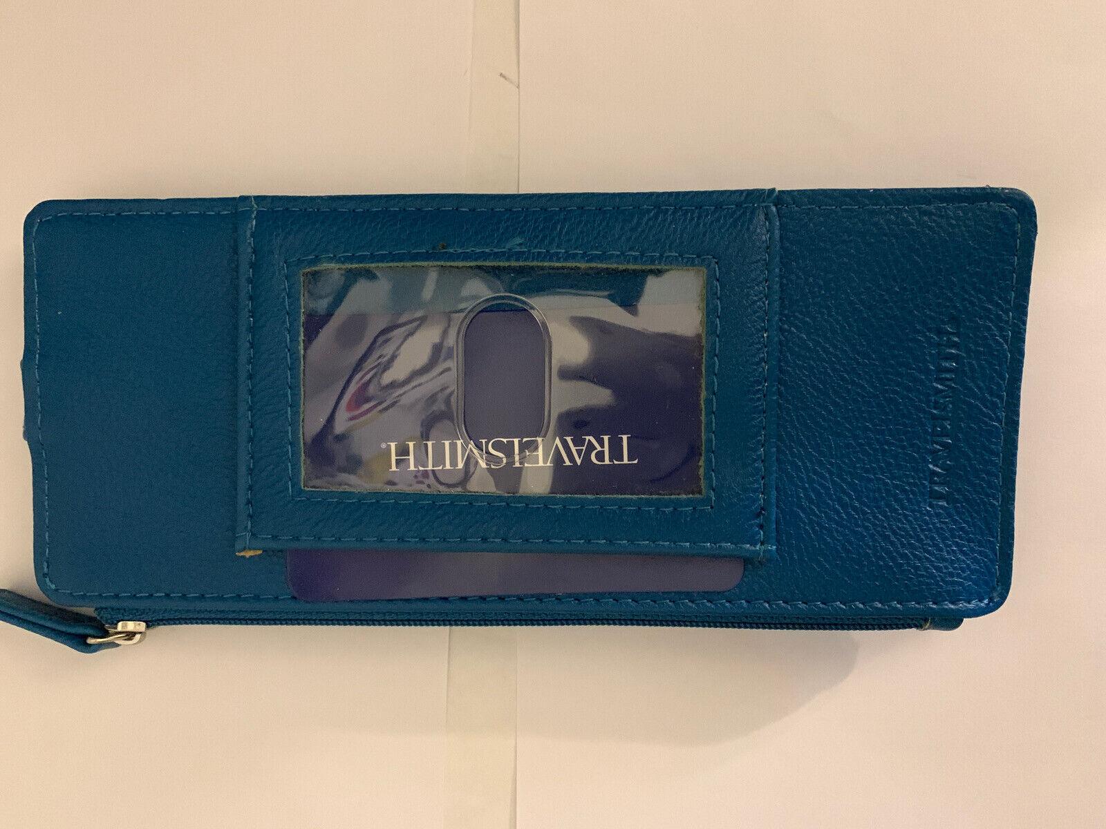 NIB Travelsmith RFID Wallet Card Holder10 Slots ID Window Slim Teal Zipper
