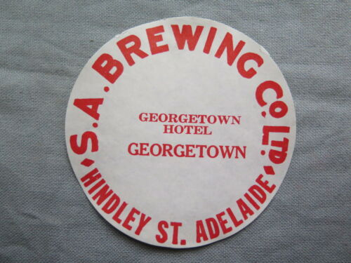 SA BREWING Co Ltd GEORGETOWN HOTEL BEER KEG LABEL c1970s SOUTH AUSTRALIA