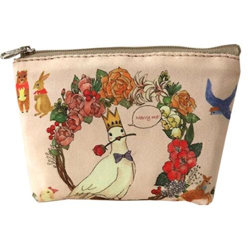 Geldbörse Blumen Drucken Damen Canvas Mini Taschen Portemonnaie Münzen Beutel