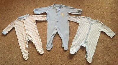 Baby Boys George Babygrow Pagliaccetto Tuta X 3 Primo Blu Taglia Buone Condizioni!-