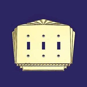 Art Deco Antique Recreated Triple Light Switch Covers