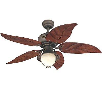 "NEW Westinghouse Oasis Bronze Outdoor 48"" Ceiling Fan w/ Light Palm Leaf 7861965"