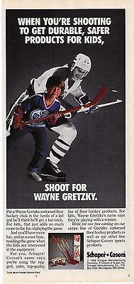 1984 Wayne Gretzky 'cosom' Floor Hockey Stick Print Advertisement Merchandise & Memorabilia Advertising-print