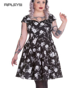 Hell-Bunny-Pinup-50s-Dress-NATALIA-Black-White-Roses-All-Sizes