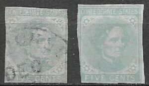 USA 1863 Confederate States type A4 Jefferson Davis 2 variations see scans
