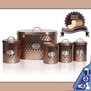 Oval-Bread-Bin-5pc-Set-With-Biscuit-Tea-Coffee-Sugar-Canisters-Vintage-Copper