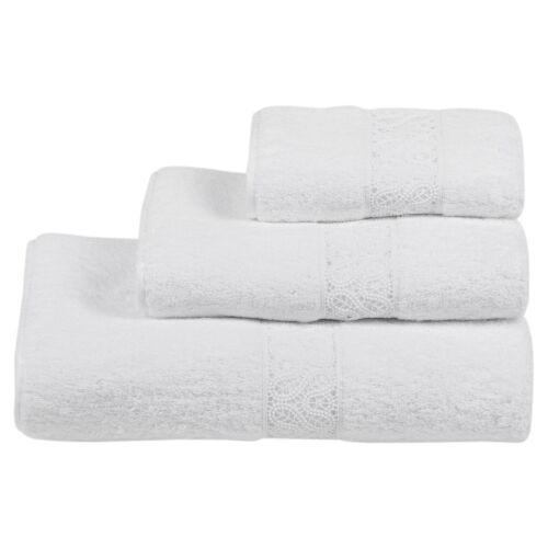 RARE! NEW FRETTE BARONG PIZZO LACE Bath TOWEL Pure White  Exquisite!!