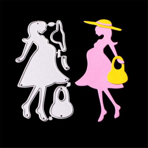 ElegantShopping Pregnant Woman With Hat Cutting Dies Embossing Stencils Decor TR