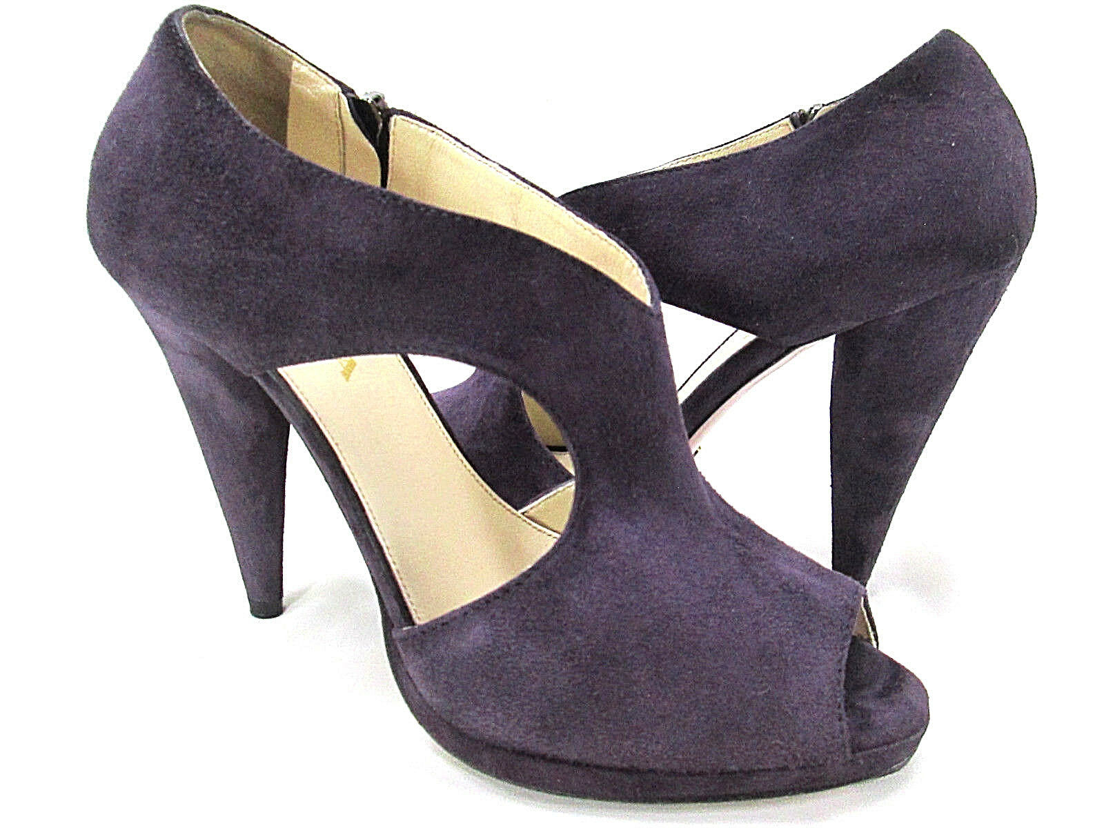 PRADA Purple Suede Leather Cut-Out Pumps Bootie Womens 37.5 / 7.5 Zip Cone Heels