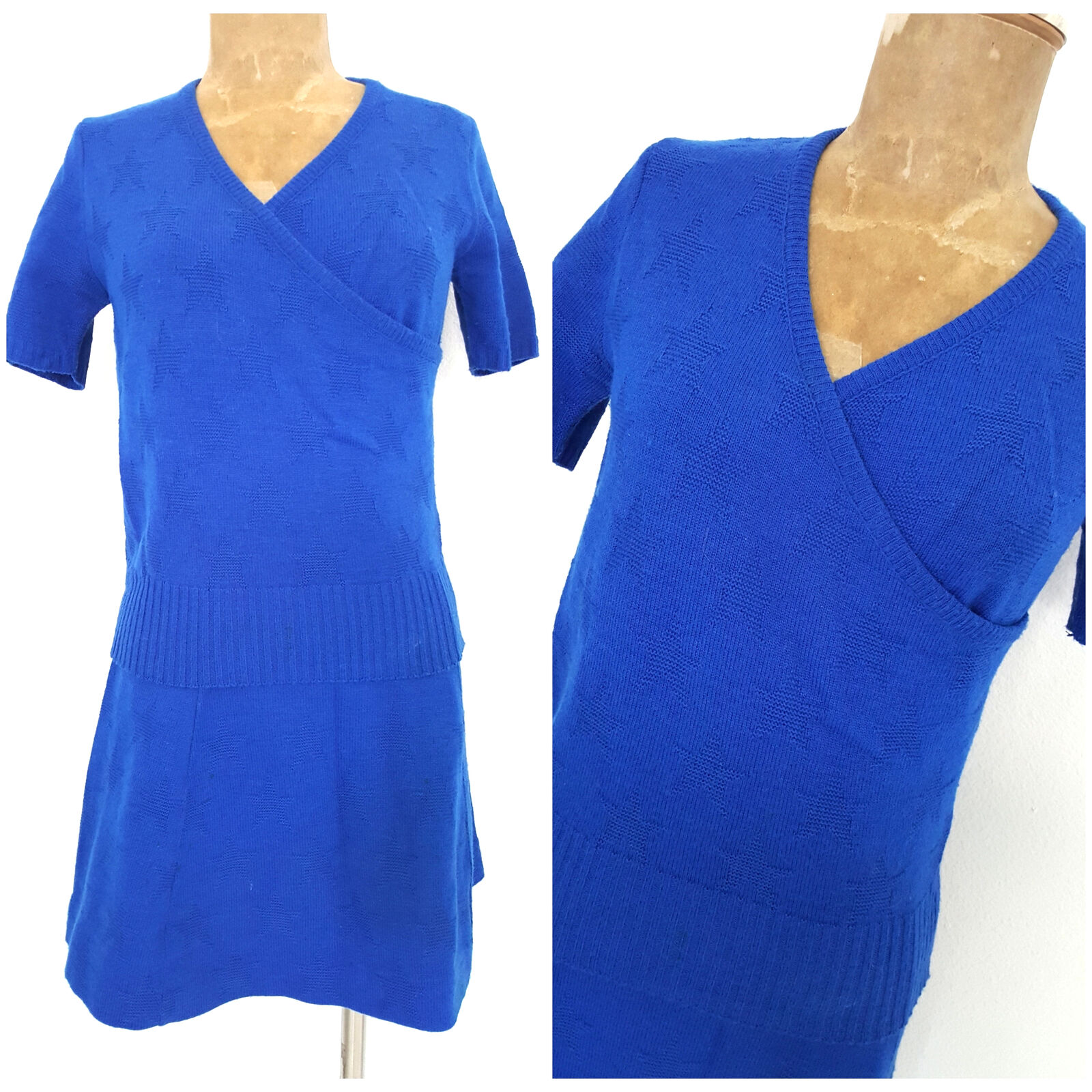 Vintage 70s Star Knit Sweater Dress Size Small bluee Mini Festive Retro JcPenney