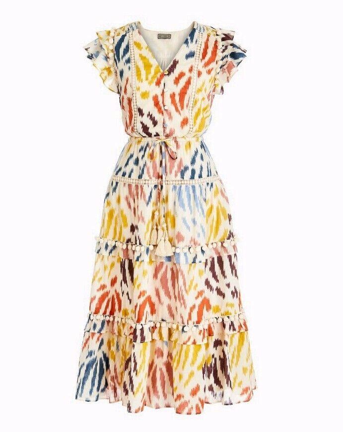 J Crew Point Sur Flutter-Sleeve Pom-Pom Midi Dress Printed Ikat Cotton Voile 8