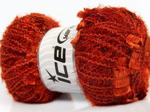 Angelo #41301 Dark Orange Metallic Butterfly Eyelash Yarn LG 100 gram 109 yards
