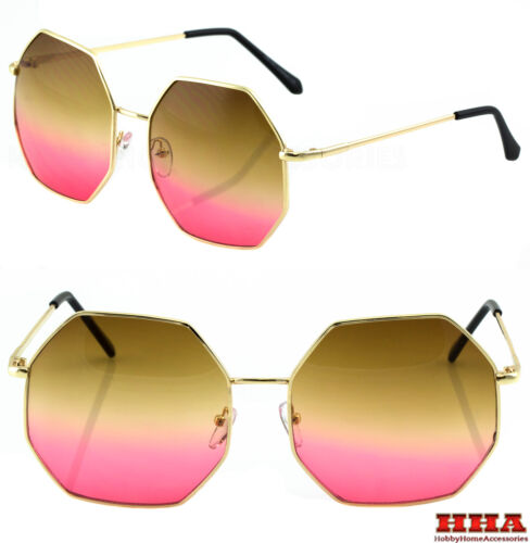 HUGE OVERSIZE  LARGE VINTAGE HEXAGON RETRO Style SUNGLASSES