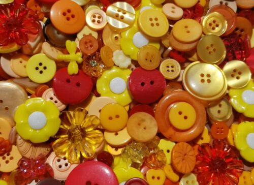100 AUTUMN BUTTONS BUTTERSCOTCH TANGERINE GOLD YELLOW RED BROWN ORANGE