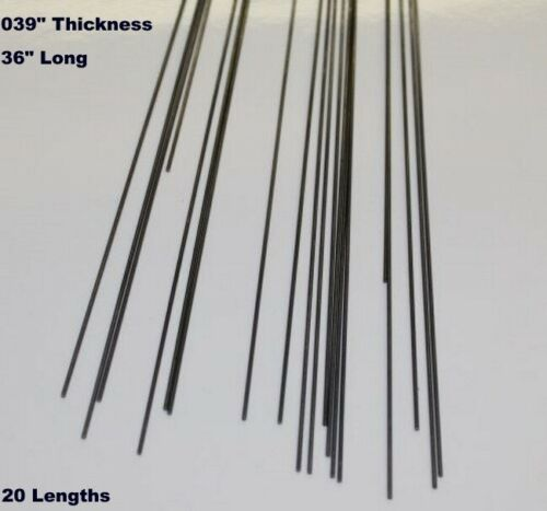 ".039/"" Thickness x 36 inch Music Wire 20-36/"" Lengths Spring Steel Round Stock"