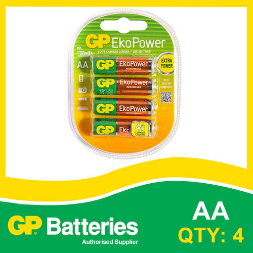 GP EkoPower NiMH AA Battery card of 4 [MP3, CAMERAS GAMES CONSOLES + OTHERS]