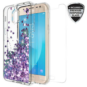 For-Samsung-Galaxy-J7-2018-J7-Star-J7-Top-Quicksand-Glitter-Case-W-Glass-Screen