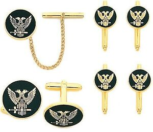 Men-039-s-Gold-Plated-Masonic-Northern-Eagle-Set-Cuff-Links-Tie-Tac-Shirt-Studs