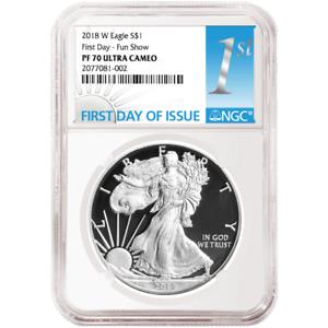 2018-W Proof $1 American Silver Eagle NGC PF70UC FDI Fun Show First Label