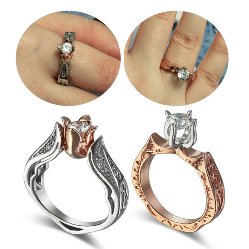 Luxury Female Small Rose Flower Ring Wedding Jewelry Engagement Rings