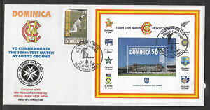 DOMINICA 2000 LORD'S CRICKET 100th TEST MATCH 1v & S/Sheet FIRST DAY COVER