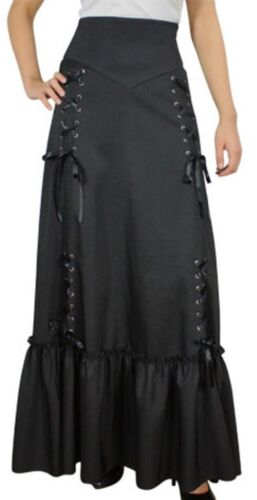 XS SM MD LG XL XXL Black NEW Gothic Steampunk Ruched Corset Side Victorian Skirt