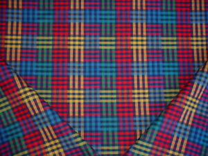 8-1-8Y-ROBERT-ALLEN-DURALEE-BERRY-RED-SAPPHIRE-COTTON-PLAID-UPHOLSTERY-FABRIC