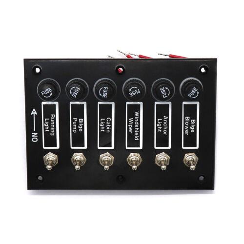 12V Rocker Switch Panel 6 Gang Leistungsschalter RV Auto Boot Marine