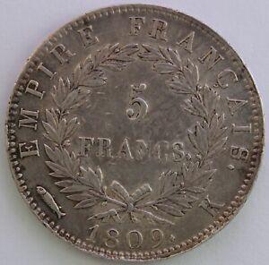 Frankreich-5-Franken-Napoleon-Kaiser-1809-K-Hervorragend