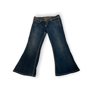 SEVEN 7 Size 16 Flare Jeans Stitching On Pockets bling inseam 28