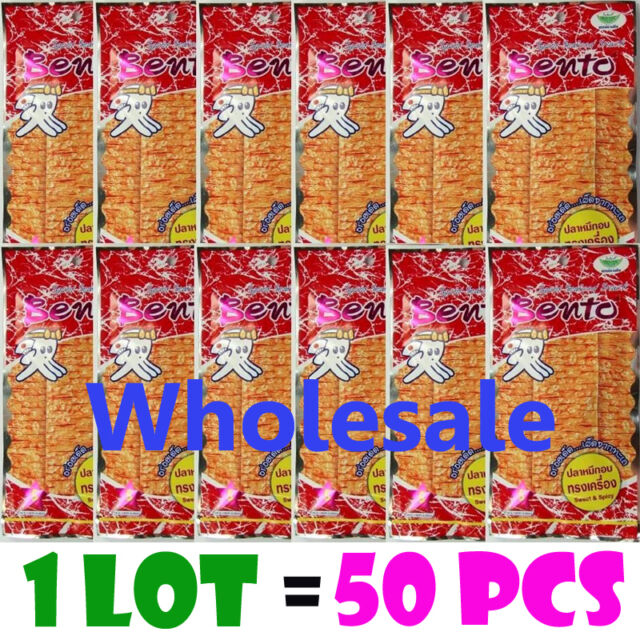 BENTO 6g. x 50 Bags Thai Squid Seafood Snack Flavor Sweet Spicy Sauce Wholesale