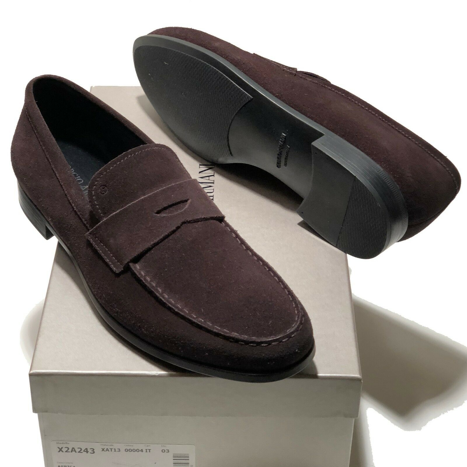 Giorgio Armani ITALY Men's Marroneee Suede Leather Penny Loafers scarpe 13 46 Casual