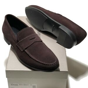 a9429958a3f Giorgio Armani ITALY Men s Brown Suede Leather Penny Loafers Shoes ...