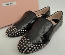 Miu Miu Black Studded Leather Loafer Shoes Flats UK2.5 EU35.5 US5.5
