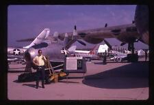 Vintage 1970 35mm Slide Photo Man With Camera Jet Aircraft Military Airplanes
