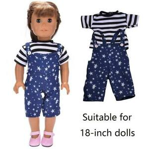 Handmade-Doll-Clothes-T-shirt-Bib-Pants-Outfits-Set-Hot-Dolls-For-18-034-Girl-A4Y8