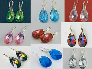 Wholesale-10x-Swarovski-Earrings-Pear-22mm-10-pairs-lot-Sterling-Silver